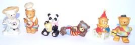 6 Home Interior HOMCO Sri Lanka Porcelain Bear Figurine Set VINTAGE - $13.97