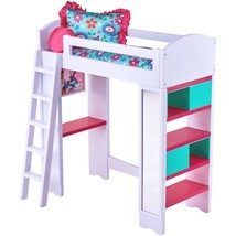 Toy Loft Bed Baby Doll Kids Play Set 6 Pc Light Sound with Reversible Be... - $72.95
