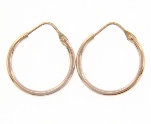 18K ROSE GOLD ROUND CIRCLE EARRINGS DIAMETER 15 MM WIDTH 1.7 MM, MADE IN ITALY