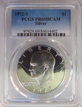 1972 S Eisenhower IKE PCGS PR 69 CAMEO SILVER Dollar Proof PF PL DPL DMP... - £38.74 GBP