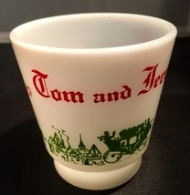 Hazel Atlas TOM and JERRY Mug Egg Nog Punch Milk Glass Cups Christmas Ho... - $9.89