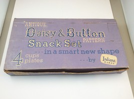 Indiana Glass Clear Daisy & Button Smart Snack Plate & Cup Set HD-1193B Box - $24.43