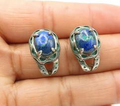 925 Sterling Silver - Vintage Lapis Lazuli & Enamel Petite Drop Earrings... - $27.95