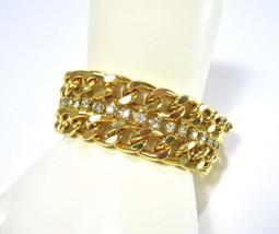 Rhinestone Bracelet, Wide Curb Chain, Gold Tone, Clear Rhinestones, 1980... - $19.50
