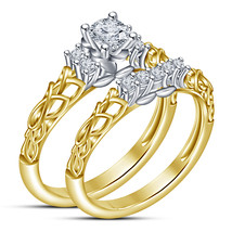 14k Yellow Gold Over 925 Sterling Silver Womens Wedding Bridal Diamond R... - $94.99
