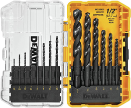 DWA1184 14Piece Set Black Oxide Coated HSS Twist Drill Bit Set NEW - $17.90