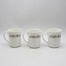 Set of 3 Corning Pyrex Christmas Ilex D Handle Coffee Mugs Tea Milk - $54.55