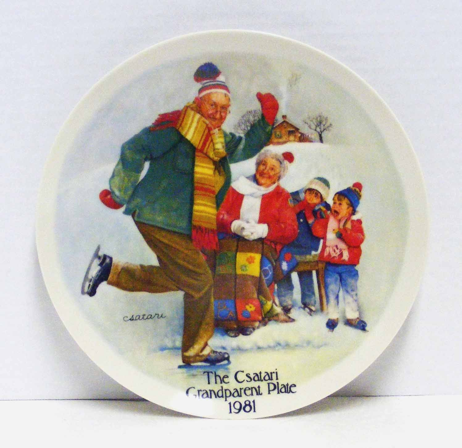"The Csatari Grandparent Plate 1981 - ""The Skating Lesson"" by Knowles"