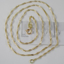 18K YELLOW GOLD MINI SINGAPORE BRAID ROPE CHAIN 16 INCHES 1.2 MM MADE IN ITALY  image 1