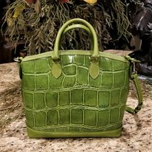 Large DOONEY & BOURKE Apple Green Embossed Croc Leather Satchel Crossbody  image 3