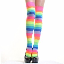 Angelina 12 Pair Dozen Women's Thigh High Socks Neon Rainbow Striped 6753A