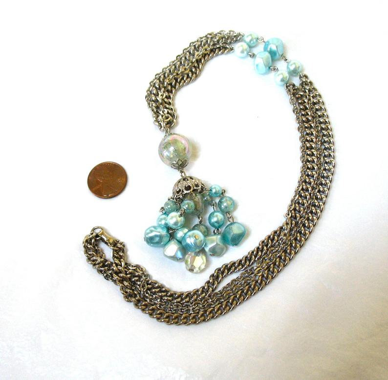 CORO Beaded Tassel Necklace, Signed, Light Blue, 1950's, Double Chain, Collectib