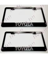 2X 3D Toyota Emblem Black Stainless Steel License Plate Frame W/Cap - $37.13