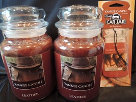 2 Two Yankee Candle 22 oz First Quality LEATHER FREE  LEATHER CAR JAR FA... - $48.26