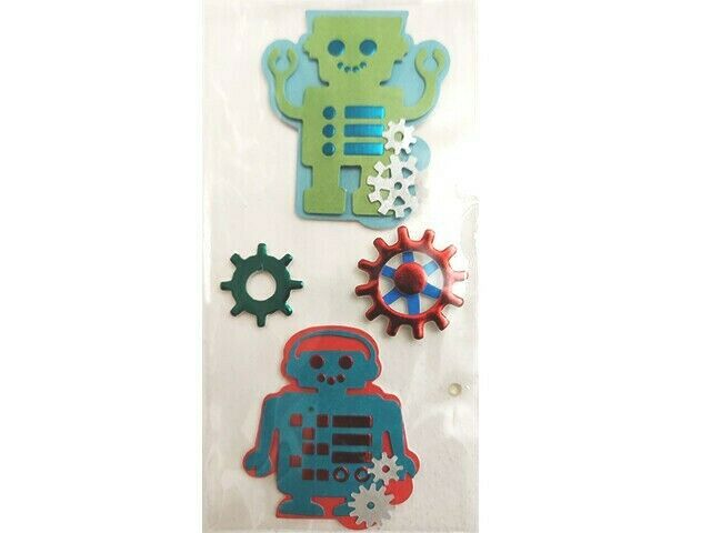 Robot-Themed Foiled, Dimensional Sticker Set
