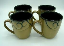 Pfaltzgraff Mugs Black Scroll Designer Pattern Studio Set of 4 Coffee/Te... - $15.88