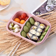 Food Storage Box Lunch Box Meal 3 Grid Natural Material Food Storage Con... - $6.92