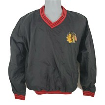 Chicago Blackhawks Vintage Pullover Black Jacket Size M Turbo Zone - $43.33