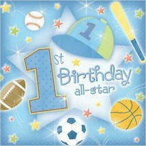 1st Birthday All Star Lunch Napkins 36 Per Package Party Supplies NEW - $6.88
