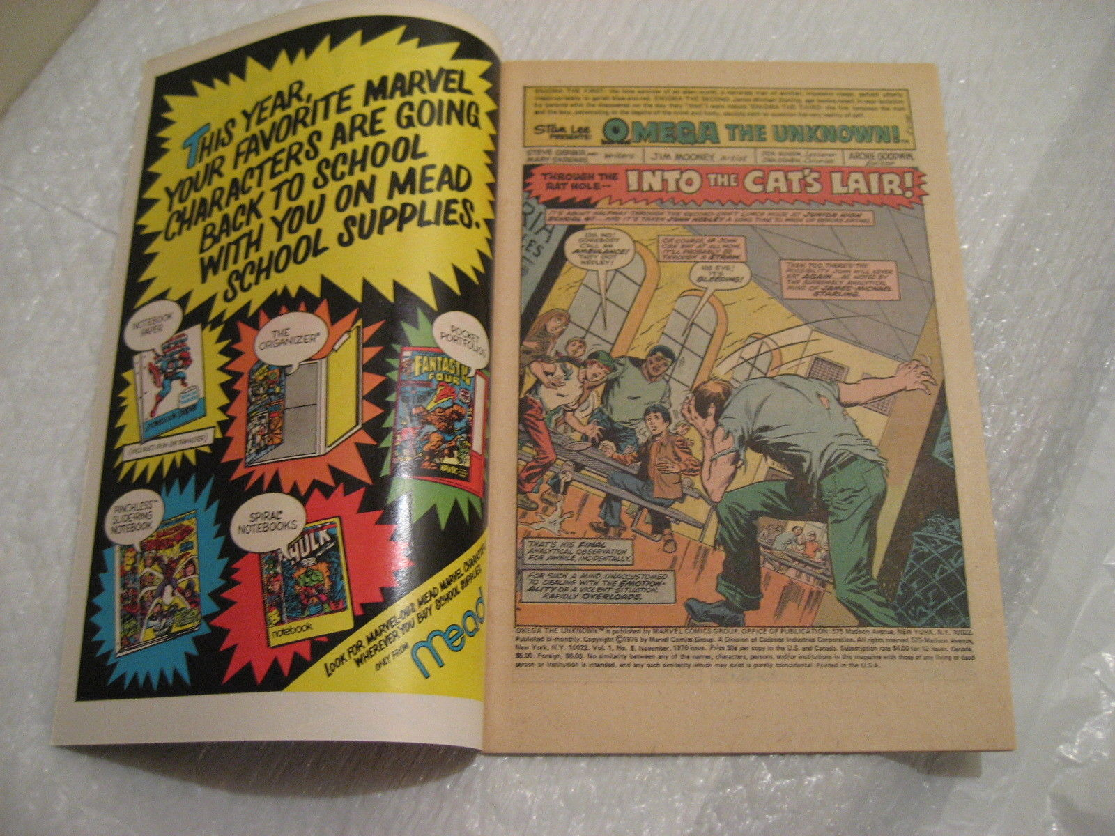 OMEGA THE UNKNOWN #5 marvel comics very fine condition 1976