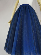 Women's Tea Length Tulle Skirt Navy Tulle Skirts Navy Blue Polka dot Puffy Tutu image 4