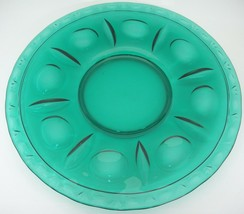 """Clear Green Glass Round Platter Huge 14"""" Circle and Fan Impressed Design... - $14.84"""