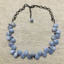 Vintage Studio Artist Sterling Blue Lace Agate Necklace With CrystalsCh... - $185.00