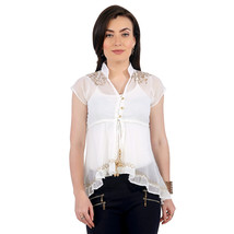 Ira Soleil white block printed poly chiffon cap sleeve womens top - $49.99
