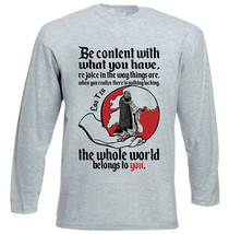 Lao Tzu Be Content Quote - New Cotton Grey Tshirt - $20.97