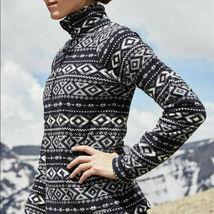 Eddie Bauer Donna 'Quest ' Nero/Bianco 1/4-ZIP Pile Pullover Grande Nwt image 3