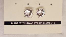 Napier Silver Crystal Rhinestone Round Stud Earrings With Swarovski Elements image 6