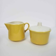 Vintage Sugar & Creamer Set Yellow White - $14.85