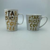 2 Starbucks Gold Graffiti Mug 2015  16 And 14.2 Mug Cups - $9.89
