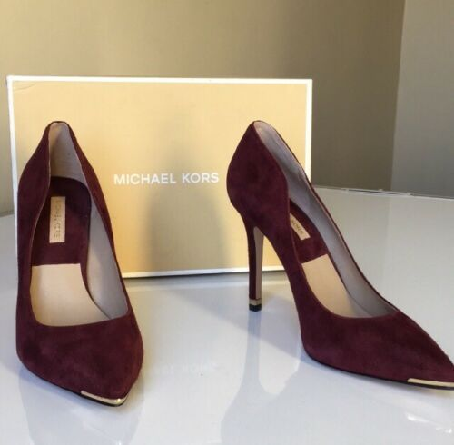 Primary image for Michael Kors Avra Women's High Heels Pumps Bordeaux Red Suede Size EU 37 US 7 M
