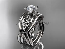 Unique Celtic engagement ring set, 14kt white gold celtic trinity knot e... - $1,585.00