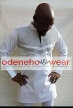 Odeneho Wear Men's White Polished Cotton Outfit/Silver Embroidery.African Clothi - $127.71+