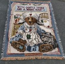 """Boyds Bears & Friends """"with gentle hands"""" Blanket Throw shawl 64"""" x 48"""" - $28.71"""