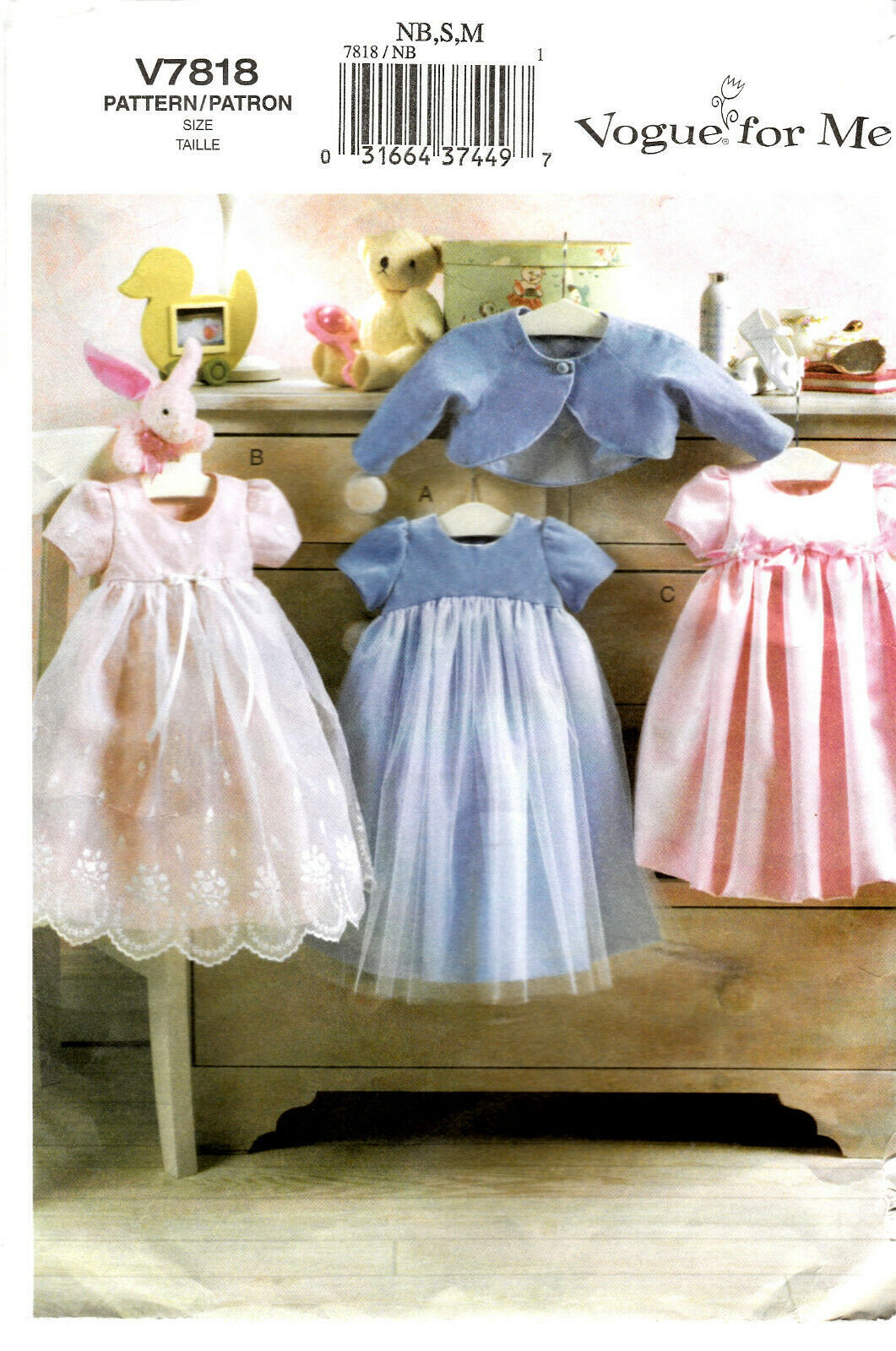 Primary image for Vogue For Me Pattern V7818 Infant Dress and Jacket Sizes NB Sm Med Used Complete