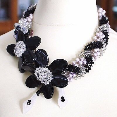 Necklace Braided, Agate Black Banded, Nacre, Flowers, Calla, Daisies