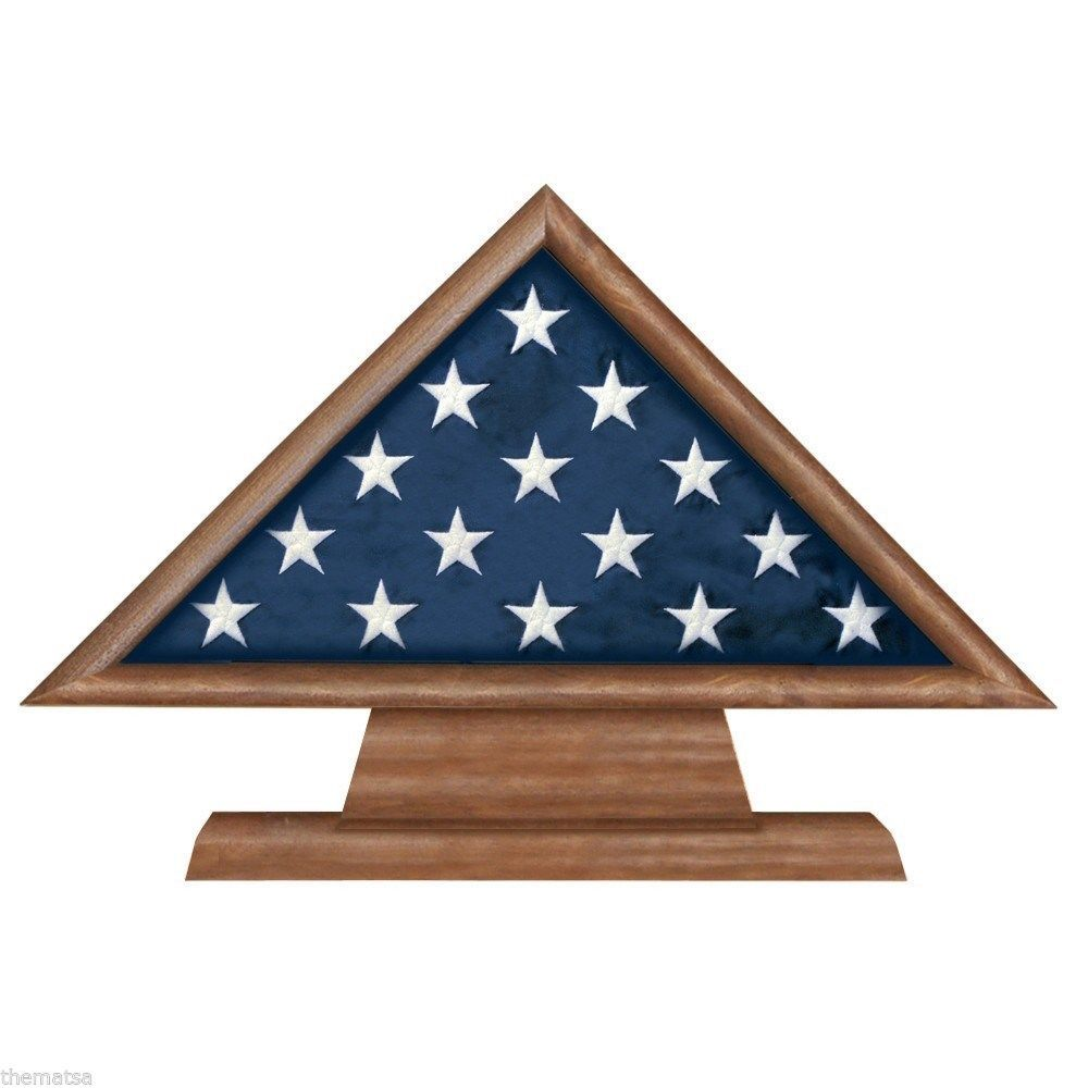 Primary image for USA MADE SOLID WALNUT WOOD MILITARY FLAG MEMORIAL DISPLAY CASE SHADOW BOX