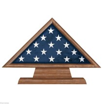 USA MADE SOLID WALNUT WOOD MILITARY FLAG MEMORIAL DISPLAY CASE SHADOW BOX - $270.74
