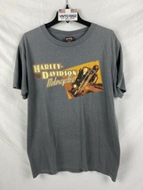 Harley-Davidson Mens Graphic T Shirt L Gray Spell Out Lynwood Seattle WA - $21.77