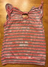 Miss Understood Girl's Pink & Gray Striped Cap Sleeve Shirt Size Small 2 Layer image 8