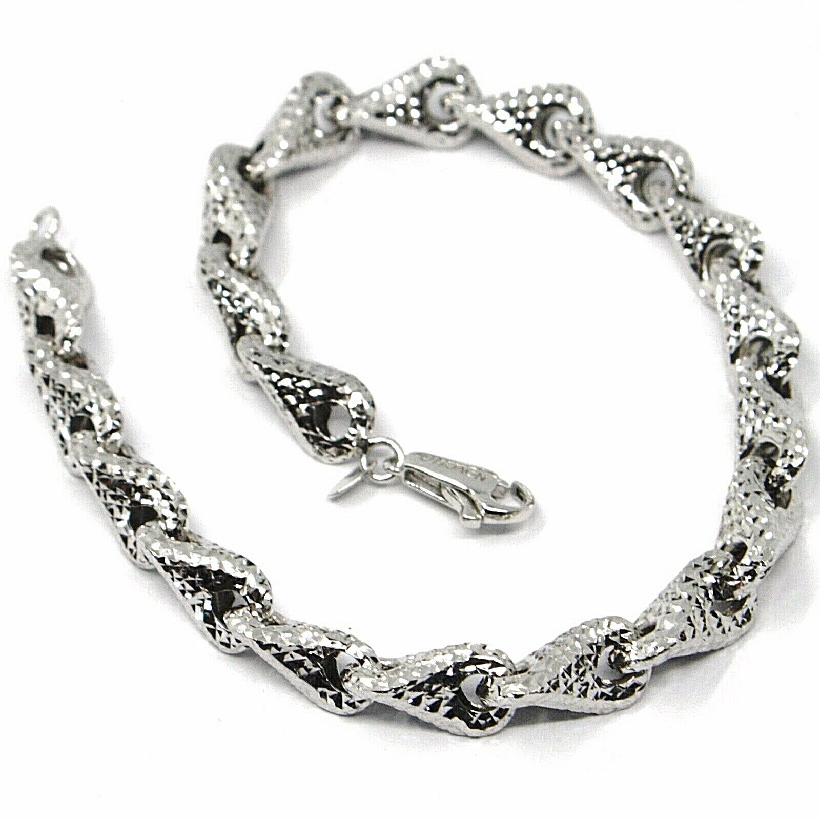 18K WHITE GOLD BRACELET, BIG ROUNDED DIAMOND CUT INFINITY ALTERNATE DROPS 7 MM