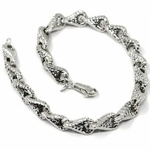 18K WHITE GOLD BRACELET, BIG ROUNDED DIAMOND CUT INFINITY ALTERNATE DROPS 7 MM image 1