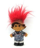 Russ Troll Country REDNECK in Jean Overalls Plaid Shirt Red Hair Doll Toy - $12.86