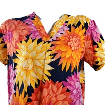 Colorful Flowers Orange Yellow Pink Small Scrub Top No Size Tag - $14.84