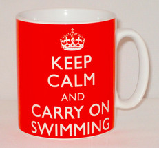 Keep Calm & Carry On Swimming Mug Can Personalise Great Swimmer Swim Div... - $11.84