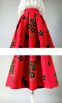 RED Flower Winter Long Pleated Skirt Warm Woolen Pleated Skirt Christmas Outfit image 3