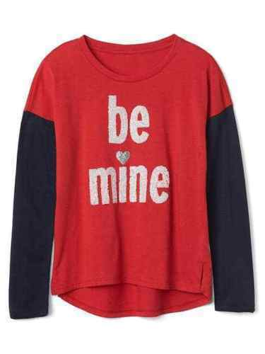 Primary image for Gap Kids Girls T-shirt 6 7 8 Navy Red Colorblock Long Sleeve Crew Love Graphic